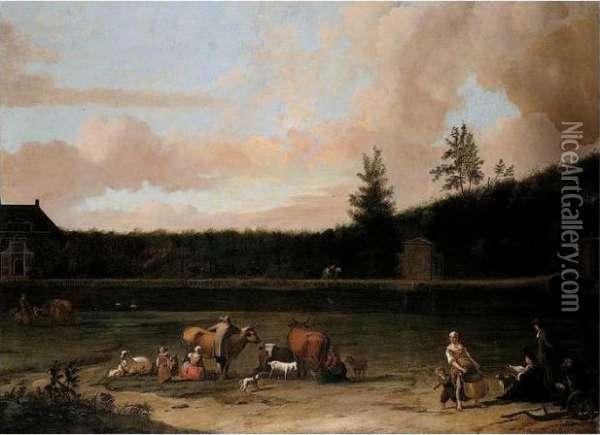 A River Landscape With The Artist In The Foreground Sketching A House Oil Painting - Ludolf Backhuysen
