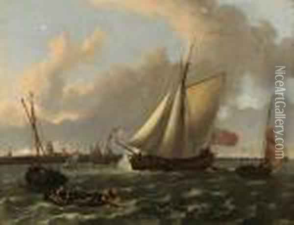 A British Sloop And Other Shipping In A Stiff Breeze On The Maas Bydordrecht Oil Painting - Ludolf Backhuysen