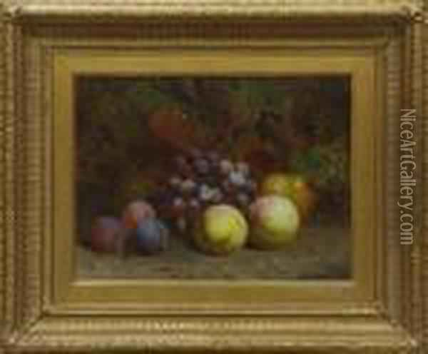 Still Life Of Pears,  Grapes And Strawberries Among Foliage Oil Painting - Charles Thomas Bale