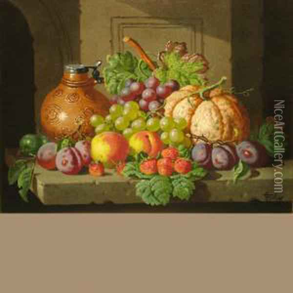 Still Life With Fruit And Lidded Jug Oil Painting - Charles Thomas Bale