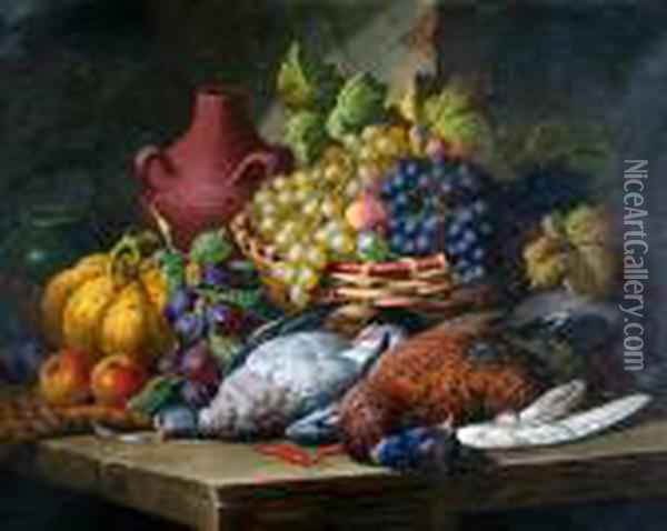 Still Life Of Fruit And Game On A Ledge Oil Painting - Charles Thomas Bale
