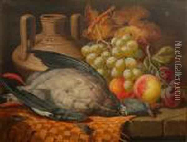 Still Life Of Fruit And Game Oil Painting - Charles Thomas Bale