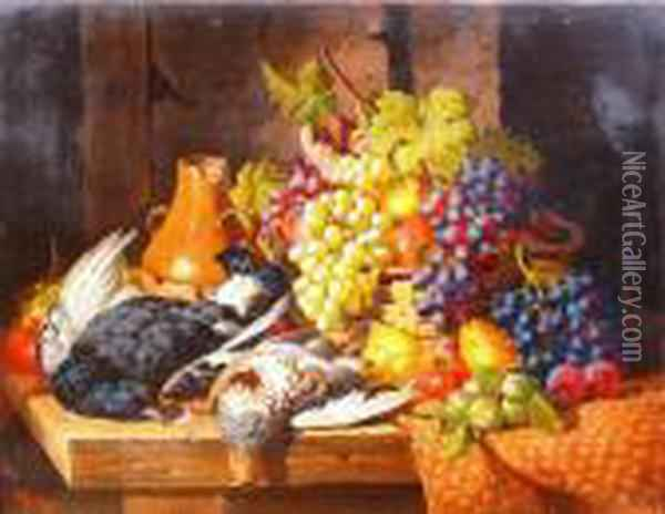 Still Life With Basket Of Fruit And Game Oil Painting - Charles Thomas Bale