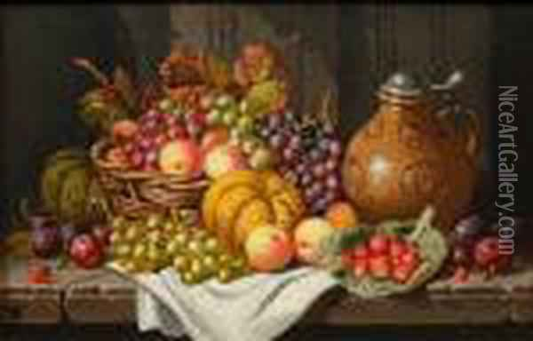 Still Life Of Fruit And A Stoneware Bellarmine On A Stone Ledge Oil Painting - Charles Thomas Bale