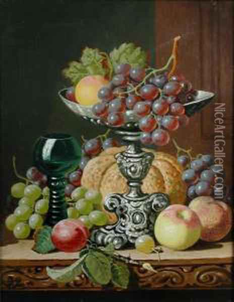 Still Life Of A Bunch Of Grapes On A Tazza, A Roemer, A Pumpkin, Apples And Plums Oil Painting - Charles Thomas Bale