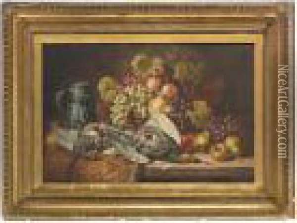 Partridges, A Tankard, Grapes, Peaches, Pears And Apples On A Wooden Ledge Oil Painting - Charles Thomas Bale