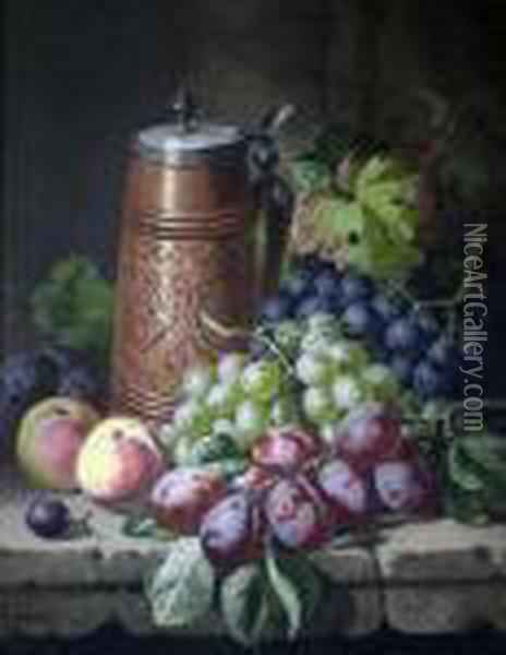 Flagon And Fruit On A Ledge Oil Painting - Charles Thomas Bale