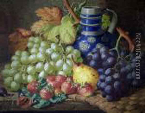 Fruit And Flagon On A Table Oil Painting - Charles Thomas Bale