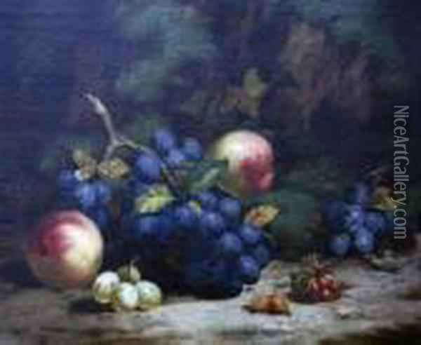 Fruit On A Mossy Bank Oil Painting - Charles Thomas Bale
