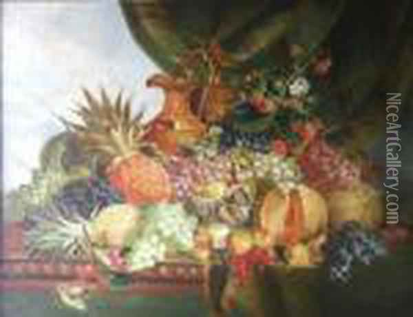 A Still Life With Pineapple, Melons, Grapes And A Ewer On A Table Top Oil Painting - Charles Thomas Bale