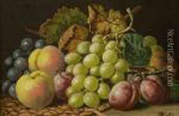 Pair Of Still Lifes With Fruit Oil Painting - Charles Thomas Bale