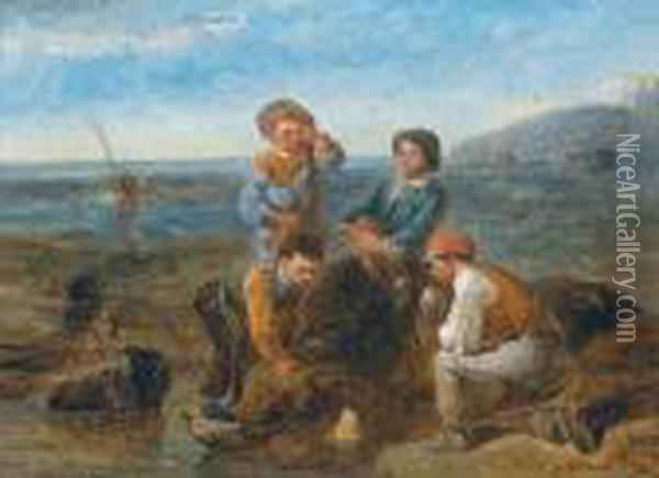 Children On The Beach Oil Painting - Charles Thomas Bale