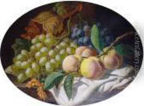 Still Life With Grapes And Peaches On A Ledge Oil Painting - Charles Thomas Bale