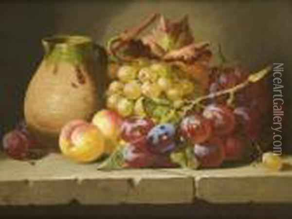 Fruit And An Earthenware Jug On A Stone Ledge Oil Painting - Charles Thomas Bale