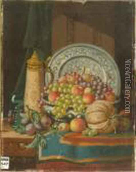 Salver, Stein, Rummer And Fruit Oil Painting - Charles Thomas Bale