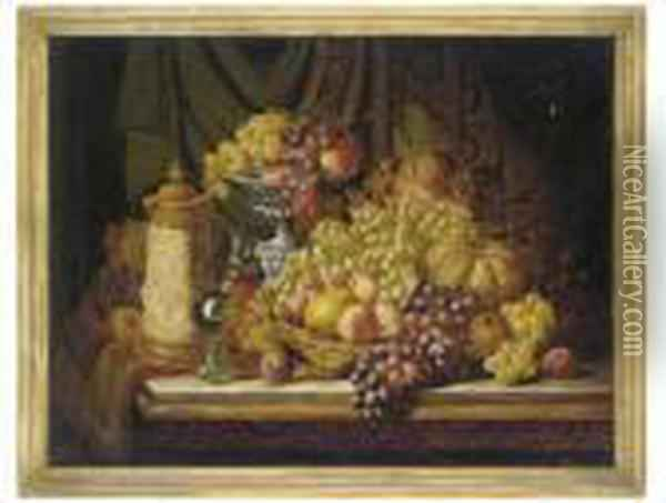 Grapes, Melon, Peaches And A Tankard On A Table Oil Painting - Charles Thomas Bale