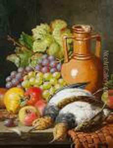 Still Life With Fruit, An Earthenware Vase Andgame Oil Painting - Charles Thomas Bale
