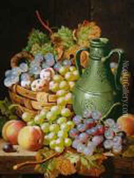 Still Life Of Fruit And A Pottery Vase Restingon A Table Oil Painting - Charles Thomas Bale