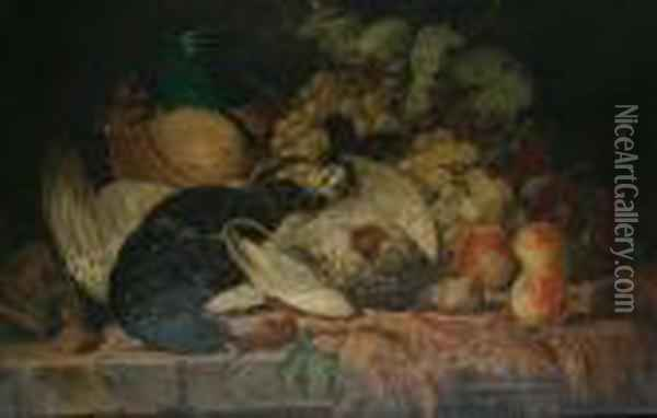 A Still Life Of Fruit And Dead Game On Ashelf Oil Painting - Charles Thomas Bale