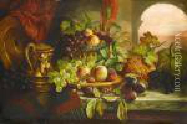 Still Life With Fruit Including Oil Painting - Charles Thomas Bale