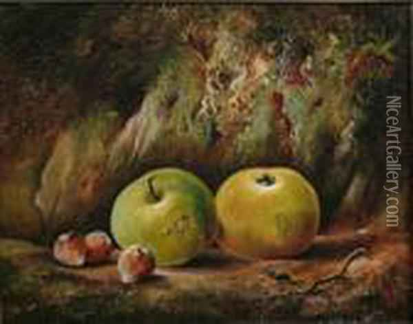 Still Life, Apples, Hazelnuts And A Beetle Oil Painting - Charles Thomas Bale