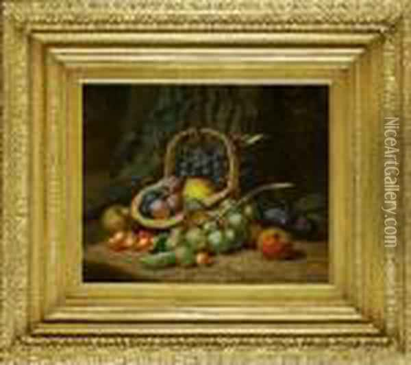 Still Life With Fruit And Basket; Still Life With Fruit Oil Painting - Charles Thomas Bale