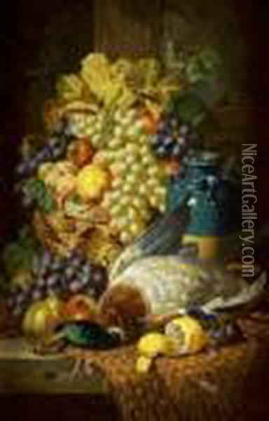 Still Life With Fruit; Still Life With Fruit And Duck Oil Painting - Charles Thomas Bale