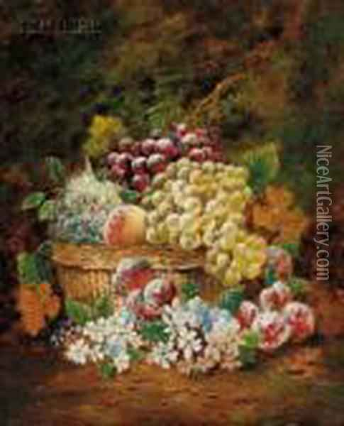 Basket Of Fruit And Flowers Oil Painting - Charles Thomas Bale