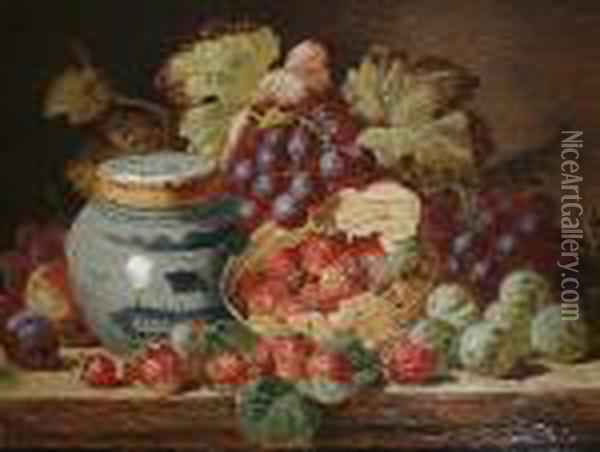Still Life With Fruit And A Ginger Jar Oil Painting - Charles Thomas Bale