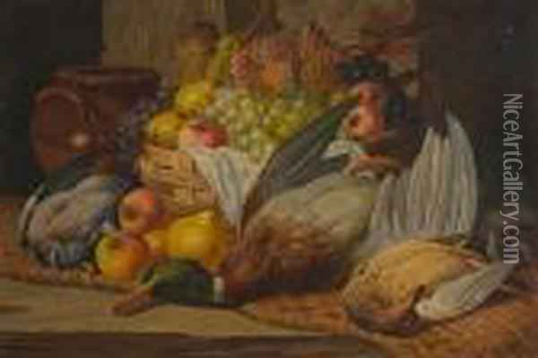 Still Life With Game Birds And Basket Of Fruit Oil Painting - Charles Thomas Bale