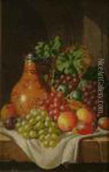 Still Life Of Fruit On Aledge Oil Painting - Charles Thomas Bale
