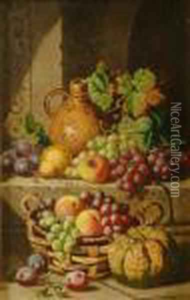 Still Life Of Fruit In Abasket Oil Painting - Charles Thomas Bale
