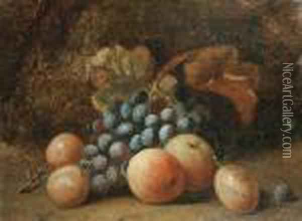 A Still Life Of Apples, Plums And Grapes On A Mossy Ground Oil Painting - Charles Thomas Bale