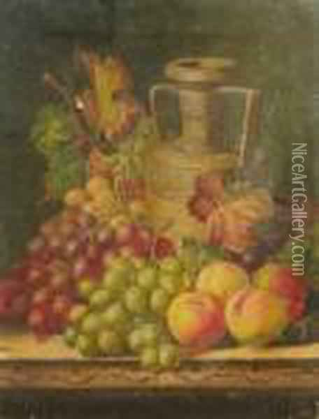 A Still Life With A Rhenish  Flagon, A Partridge And Fruit On A Wooden Ledge; A Still Life Of A Vase  And Fruit On A Wooden Ledge Oil Painting - Charles Thomas Bale