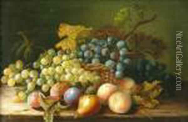 Stilllife Of Fruit In A Basket Oil Painting - Charles Thomas Bale