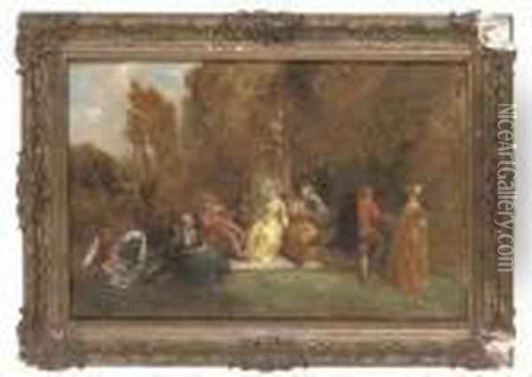Fete Gallant Oil Painting - Charles Thomas Bale