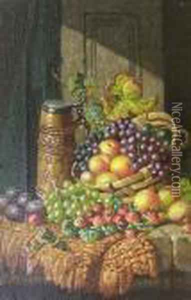 Still Life, Fruit In A Basket On A Ledge Oil Painting - Charles Thomas Bale