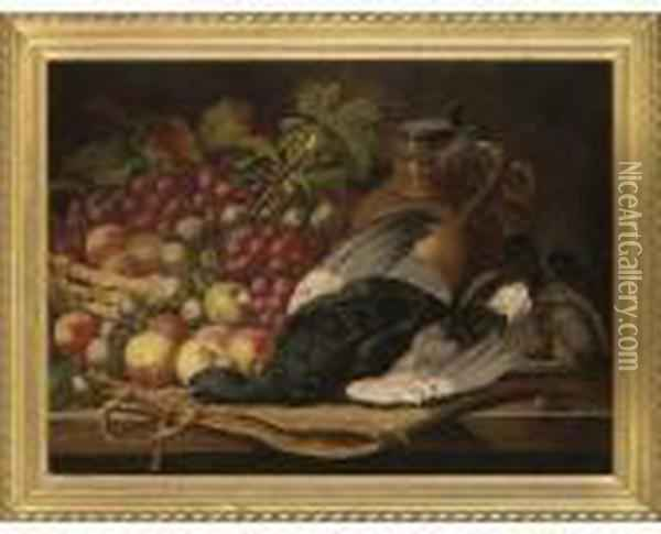 Blackcock, An English Partridge, Apples, Grapes And A Pitcher On A Table Oil Painting - Charles Thomas Bale