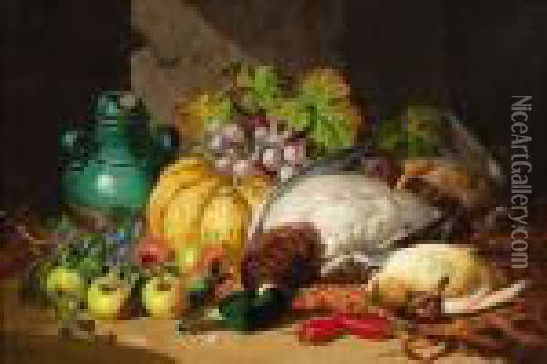 Still Life With Dead Game And Fruit Oil Painting - Charles Thomas Bale