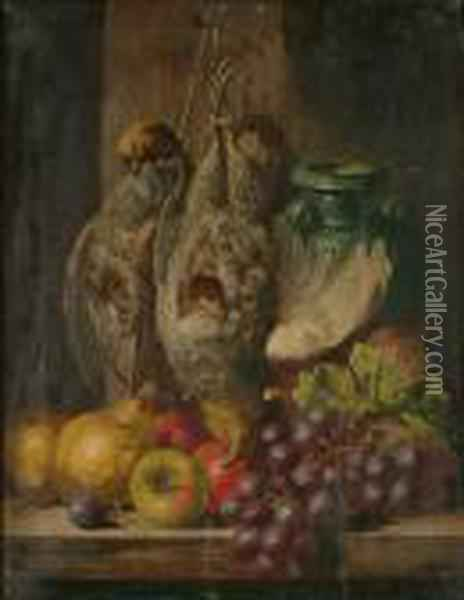 A Still Life Of Grey Partridge, Fruit And An Earthenware Jug Oil Painting - Charles Thomas Bale