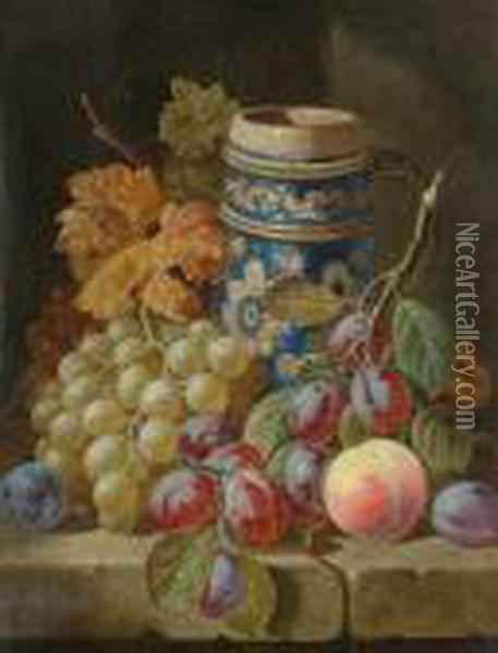 A Still Life Of Fruit And Earthenware Pitcher Oil Painting - Charles Thomas Bale