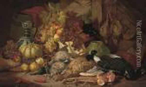 Dead Game, Fruit, A Vase And Ewer In A Timbered Interior Oil Painting - Charles Thomas Bale