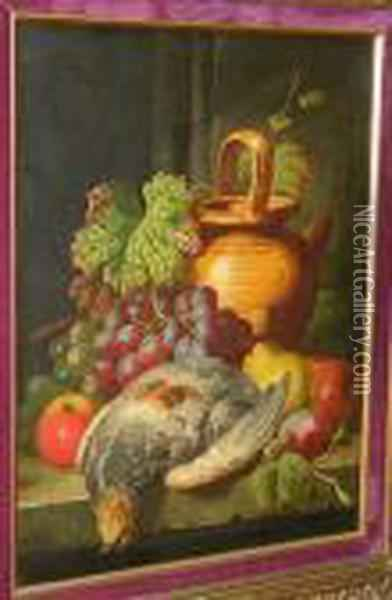Black And Green Grapes, Apples,  Pear, Plum, Partridge And Water Jug On Stone Ledge, Signed 'c.t. Bale',  Oil On Canvas Oil Painting - Charles Thomas Bale