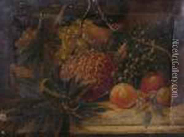 A Still Lifeof Grapes, Pineapple, Apples And Orange Oil Painting - Charles Thomas Bale