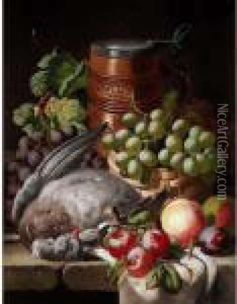 Still Life With Fruit And Game Oil Painting - Charles Thomas Bale