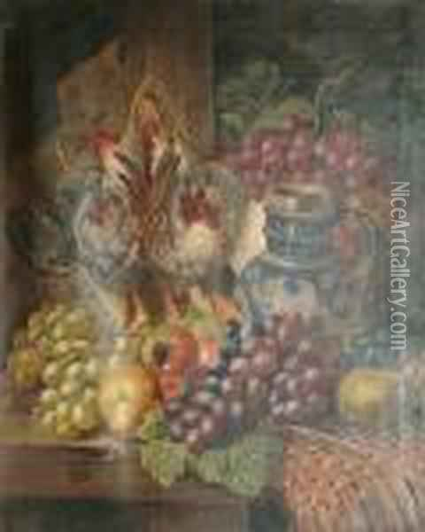 A Still Life Of Fruit, Dead Game And A Pitcher On A Table Oil Painting - Charles Thomas Bale