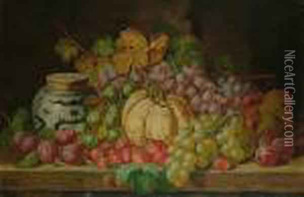 Still Life Of Fruit And An Oriental Jar On A Table Oil Painting - Charles Thomas Bale