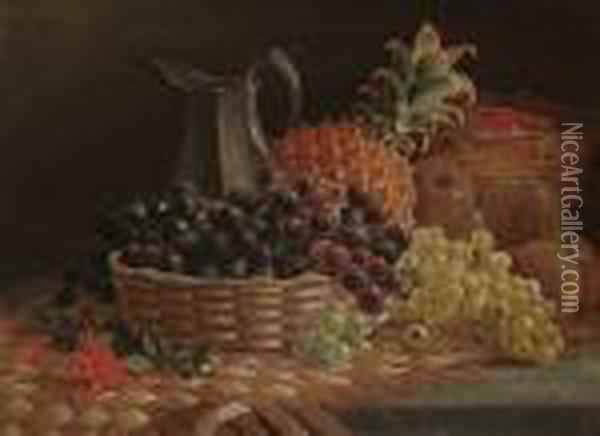 Still Life Of Fruit And A Pewter Jug Oil Painting - Charles Thomas Bale