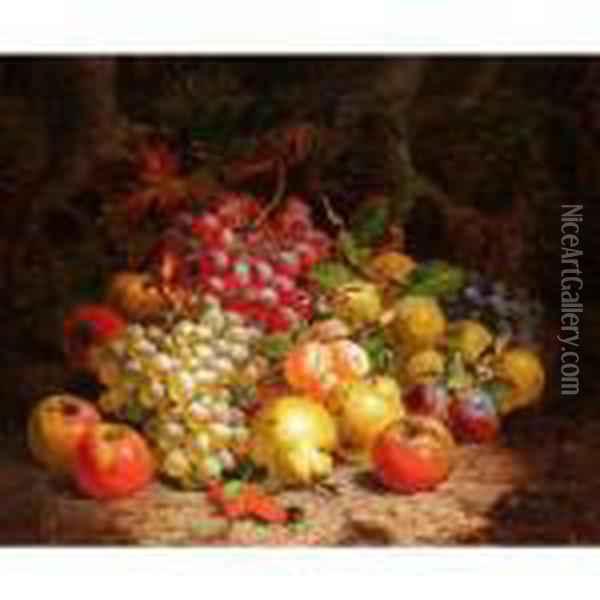 Still Life Of Grapes, Pears And Apples Oil Painting - Charles Thomas Bale