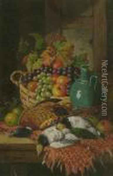 Still Life With Game And A Basket Of Fruit Oil Painting - Charles Thomas Bale